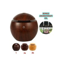 Air Aroma therapy Humidifier Kayu Wood Difusser + Essential Oil 10ml
