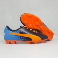 Sepatu Bola Anak Puma EvoSpeed Biru Hitam Orange