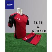 Baju Futsal Kaos Futsal Setelah Futsal Jersey Nike Puma Merah Hitam