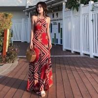 Gaun Maxi Wanita Import Dress Bohemian Beachwear Backless Dress Boho