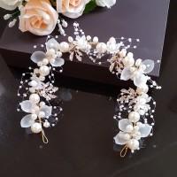 Aksesoris Hiasan Rambut Tiara Bando Bunga Sanggul Pesta Pengantin B01