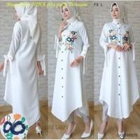 Maxi Dress NINA baju muslim pita putih sablon Twiscone fit L