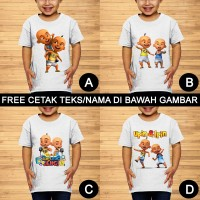 Upin dan Ipin Baju Kaos Anak dan Balita Karakter Custom Teks/Nama