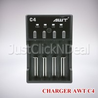 Authentic AWT C4 Charger 4 Slot Baterai 18650 Fast Charging 2A