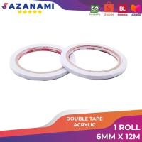 "Double Tape Kertas 1/4"" Inch 6mm x 12m Sazanami Tissue acrylic 3m"