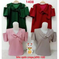 Baju Atasan wanita tangan Bolong pita Samping 1408