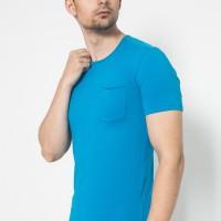 The One Tshirt - Longline Spandex - Roundneck Kantong - Blue