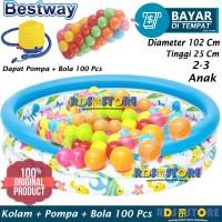 Bestway Kolam Renang Anak Mandi Bola 102 x 25 cm + Pompa + Bola 100 Pc