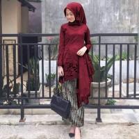 setelan baju pesta kebaya wisuda juliana maroon brukat batik Jul ktf