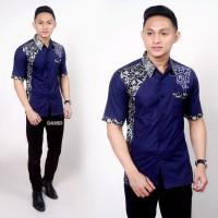 Baju Batik Pria Kemeja Lengan Pendek Original - Navy, M