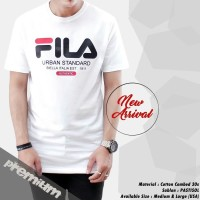 kaos putih pria lengan pendek Fila t-shirt premium