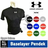 baselayer/ baju manset lengan pendek Hitam UNDERARMOUR-fitness-sepeda