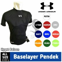 baselayer/ baju manset lengan pendek Hitam UNDERARMOUR-fitness-gym