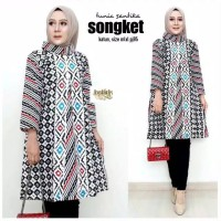 tunik batik modern pesta baju atasan muslim blouse m l xl jumbo bluss