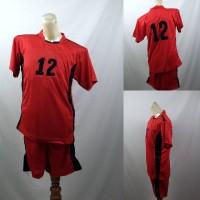 Setelan Baju/Kaos Sepak Bola/Futsal Team/Tim Anak Merah Hitam