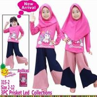 Baju Muslim Anak Little Pineapple Pink Unicorn LED Kulot Plisket
