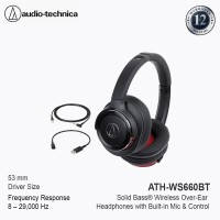 Audio-Technica ATH-WS660 BT Bluetooth Wireless Over-Ear Headset - Red