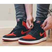 ORIGINAL Sepatu Nike Air Jordan 1 Retro Flyknit AJ1 mid Red BNIB