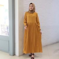 Maxi Dress Fashion Muslim Dilla Mustard
