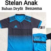 Sablon Nama Nomor plus Stelan Baju Bola Futsal Anak Biru Turkish