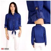 Baju Kemeja Jeans / Denim Atasan Lengan Panjang Wanita JSK 3723