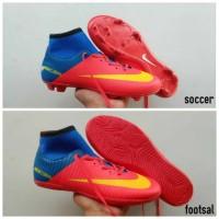 Sepatu futsal bola Nike mercurial FC Barcelona Messi red blue size 39
