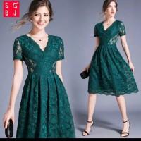 dress wanita midi A line brukat Dan lace import