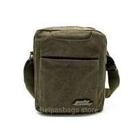 tas selempang kanvas travel pouch polo army