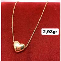kalung love hati emas asli kadar 700 70% 18k 22 surabaya gold rosegold