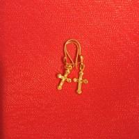 Anting salib permata putih emas asli kadar 70% 700 18k 22 surabayaa