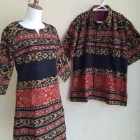 set couple tenun etnic jepara kemeja dan dress motif sumba toraja
