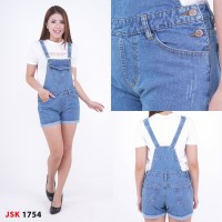Baju Kodok Jeans Overall Celana Jumpsuit Jeans Pendek Wanita JSK 1754 - Biru Jeans, 30