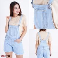 Baju Kodok Jeans Overall Wanita Celana Jumpsuit Jeans Pendek JSK 1751