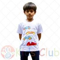 Baju Kaos Anak Laki-laki Putih Mobil Balap Kids Club
