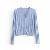 Baju Cardigan Wanita Lightblue V neck Knit Import