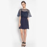 DRESS GLITTERLY CAPE QUEEN - Dress Wanita Brocade High Quality - Biru Muda