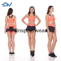 sportbra dan rok stelan olahraga wanita baju senam aerobic Orange - Orange, M