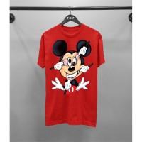 T-shirt Mickey Jlk / Baju Kaos Distro Pria Wanita Hitam Merah Slimfit