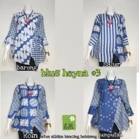 kimono blouse atasan baju batik biru blue wanita modern korea jepang