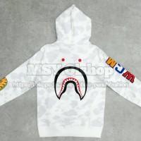 Grosir Bape City Camo Embroidery Shark Full Zip Hoodie White 100%