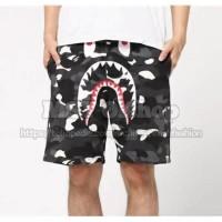 Grosir Bape City Camo Shark Sweat Shorts (Glow in The Dark) - Hitam