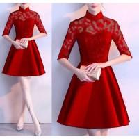 dress brukat remaja-gaun pesta ABG-kondangan/baju kantor/kerja/natalan