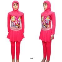 Baju Renang Anak Muslimah Usia SD Karakter Unicorn Pink Size M - XL