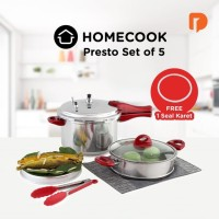 Panci Presto Homecook Set of 5 Aluminium Pressure Cooker 8LiterSteamer