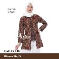 Baju Atasan Batik Wanita Blouse Batik Kemeja Batik Kerja Wanita 01