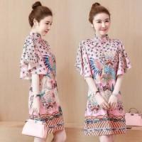Dress Cheongsam Lengan Panjang Ukuran Besar 4XL_Untuk Wanita