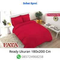 Bed Cover Motif Polos Terbaru Warna Merah Ukuran 180X200 Cm