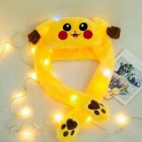 promo banny hat pikachu led - topi pikachu imut