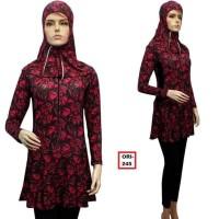 TERBARU Baju Renang Muslimah Dewasa Murah Motif Rumput Warna Fanta 245