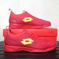 TERBARU Sepatu Futsal Lotto Original Spark In Solar Red Yellow Sepat